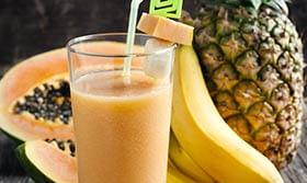 Ananas, Papaya und Banane für gute Laune
